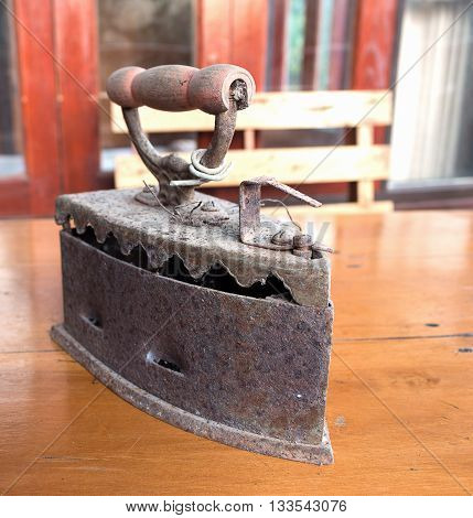 irons Old. irons on the table  background