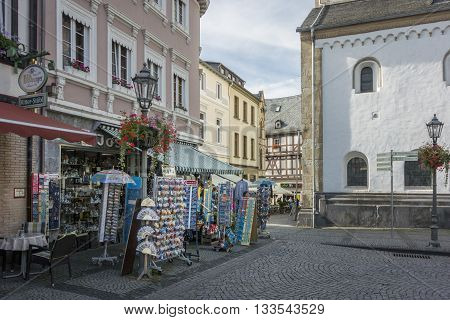 BOPPARD GERMANY 9 AUGUST 2014 - Souvenir shops in Boppard Germany UNESCO World Heritage Site
