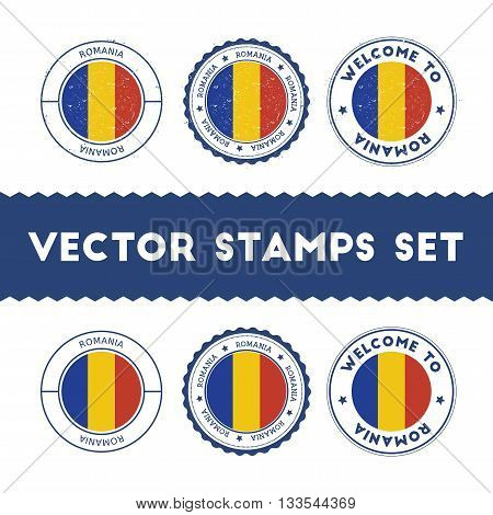 Romanian Flag Rubber Stamps Set. National Flags Grunge Stamps. Country Round Badges Collection.