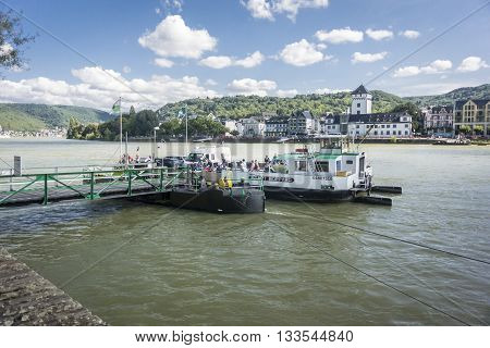 BOPPARD GERMANY 9 AUGUST 2014 - Ferry to Boppard on the River Rhine Germany