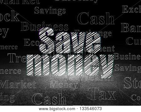 Money concept: Glowing text Save Money in grunge dark room with Dirty Floor, black background with  Tag Cloud