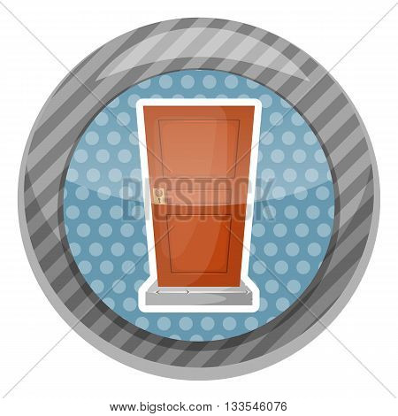Wooden door colorful icon. Vector illustration in cartoon style