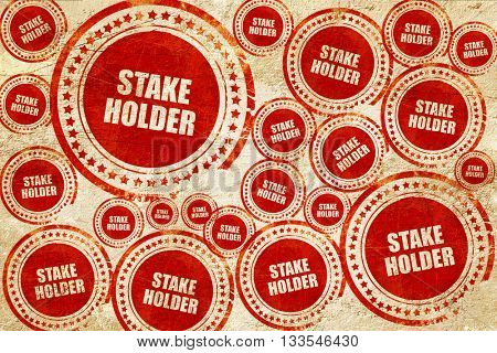 stakeholder, red stamp on a grunge paper texture