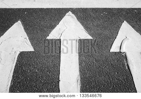 White Arrows On Black Highway, Road Marking