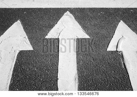 White Arrows On Black Highway, Road Marking