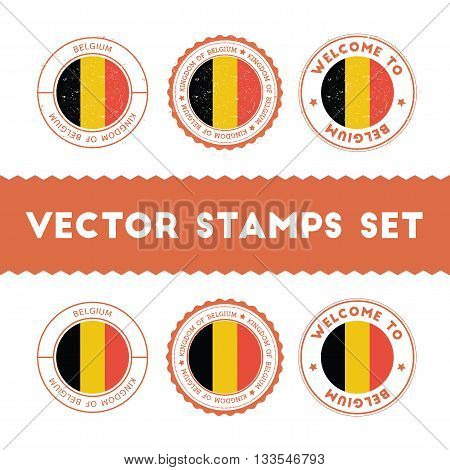 Belgian Flag Rubber Stamps Set. National Flags Grunge Stamps. Country Round Badges Collection.