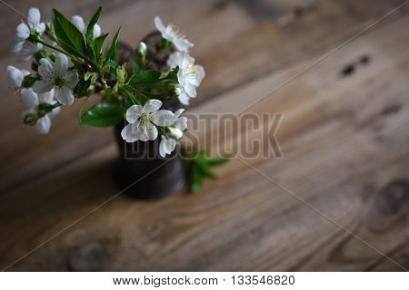 still life with spring blossoms in vase on wooden surface