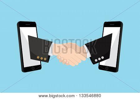 Shake Hand Online Partnership mobile startup business