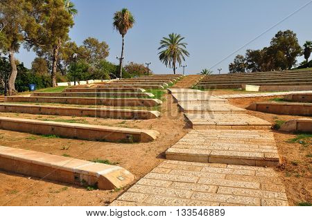 Amphitheater of Abrasha park in old Jaffa.Israel.