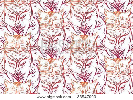 Cute vector cats seamless pattern.Cat vector hand drawn illustration illustration.Lined cats on white background.Funny doodle wallpaper