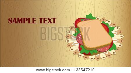 Banners / flyer with a delicious sandwich on a napkin. Graphic arts