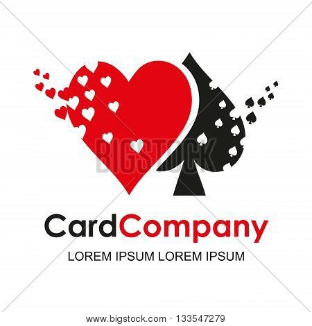 Playing card suit logo. Vector logotype design. Casino games, cards, web banner. isolated on white background.