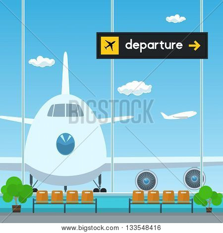 Waiting Room in Airport, View on Airplane through the Window from a Waiting Room, Scoreboard Departures from Airport ,Travel Concept, Flat Design, Vector Illustration