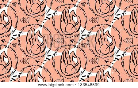 Hand drawn yoga mudra hands pattern with coral color. Vector illustration for a yoga studio tattoo spa postcards souvenirs.Hands Yoga.