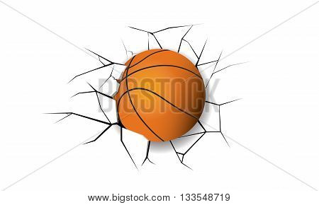 Sport Crack Basketball destruction orange break wall