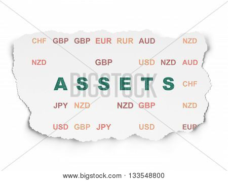 Currency concept: Painted green text Assets on Torn Paper background with  Currency