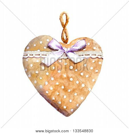 Textile heart with lace ribbon and bow. Watercolor in country style