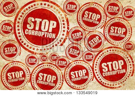 stop corruption, red stamp on a grunge paper texture