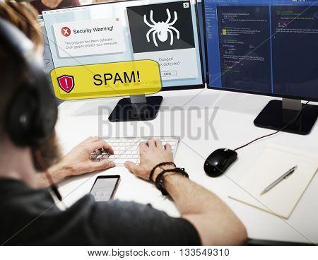 Spam Notification Virus Alert Computer Concept