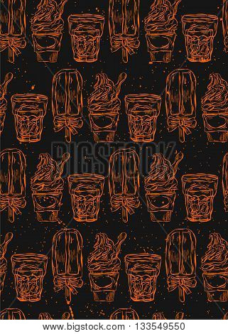 Vector hand drawn seamless orange pattern with ice cream on black background.Sweets menu design.Ice lolly pattern.