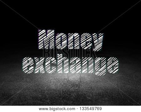Currency concept: Glowing text Money Exchange in grunge dark room with Dirty Floor, black background