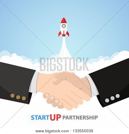 Shake Hand Startup Partnership rocket trust business