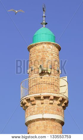 Minaret of the mosque in old Jaffa. Israel.