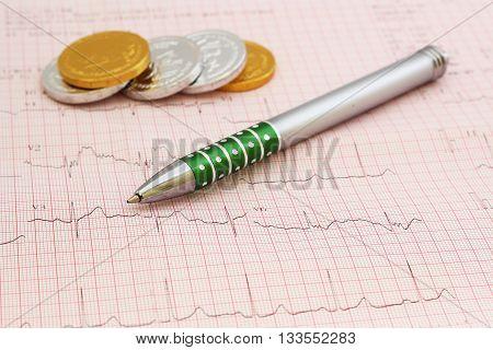 EKG - Electrocardiogram graph , ekg heart rhythm, medicine concept