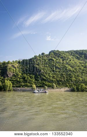 BOPPARD GERMANY 8 AUGUST 2014 - Car ferry on the river Rhine Germany