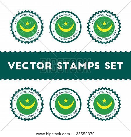 I Love Mauritania Vector Stamps Set. Retro Patriotic Country Flag Badges. National Flags Vintage Rou
