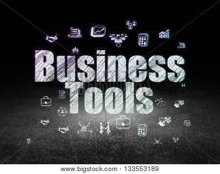 Business concept: Glowing text Business Tools,  Hand Drawn Business Icons in grunge dark room with Dirty Floor, black background