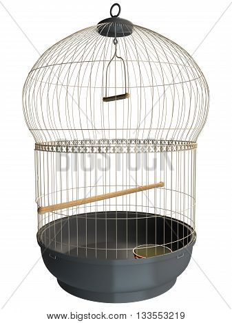 3D rendering of a birdcage isolated on white background