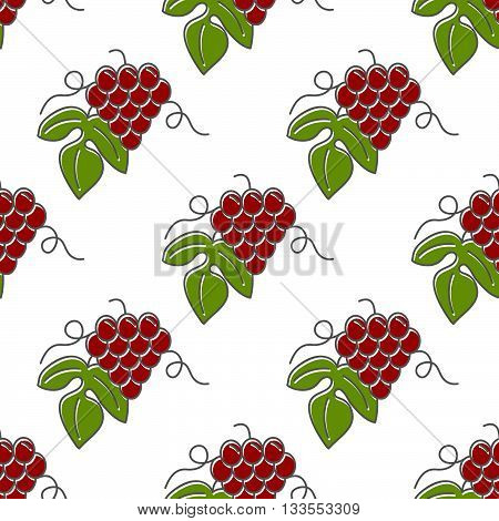 Seamless pattern with grapes isolated on a white background. Flat and line style design. Green and red vector illustration.