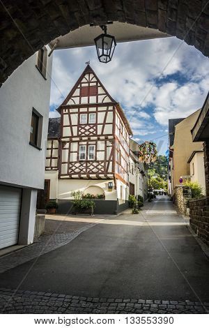 BOPPARD GERMANY 8 AUGUST 2014 - Half timbered building in the town of Boppard Germany