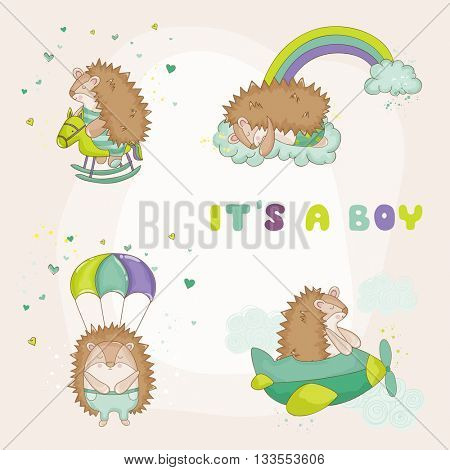 Baby Hedgehog Set - for Baby Shower or Baby Arrival Cards - in vector