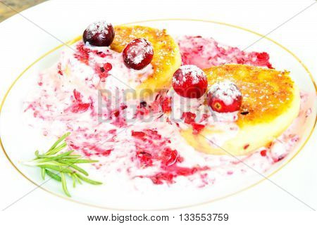 Tasty and Healthy Food: Delicious Cheesecake with Cranberries. Studio Photo