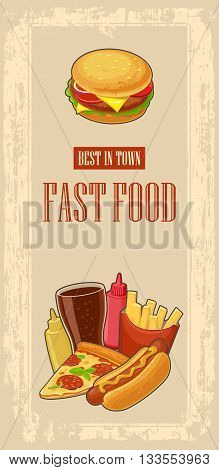 Fast food poster with vintage beige background. Set icon. Glass of cola hamburger pizza hotdog fries potato in red paper box bottles of ketchup and mustard. Vector flat illustration