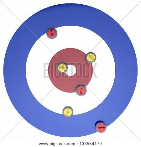 Top view of curling stones on ice, 3D illustration