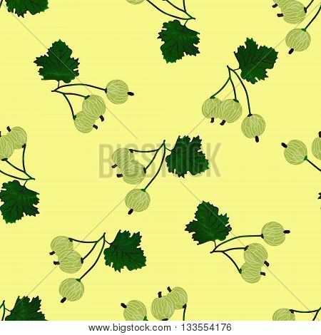 Vector gooseberry seamless pattern. Vector gooseberry background.