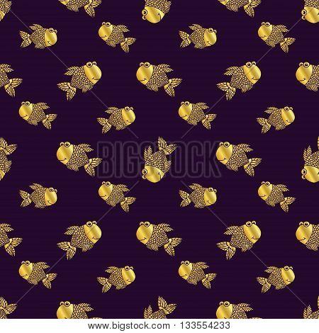 Golden vector fish vector seamless pattern. Vestor illusrtration.