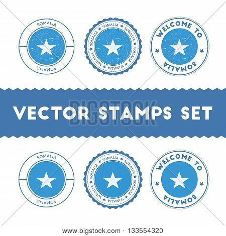 Somali Flag Rubber Stamps Set. National Flags Grunge Stamps. Country Round Badges Collection.