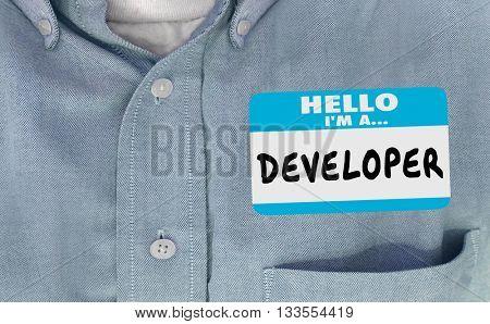 Developer Name Tag Sticker Shirt Word Builder Real Estate