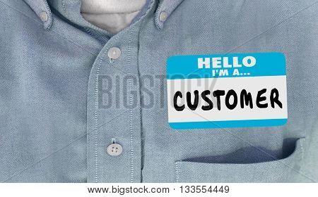 Hello I'm a Customer Name Tag Sticker Shirt Words