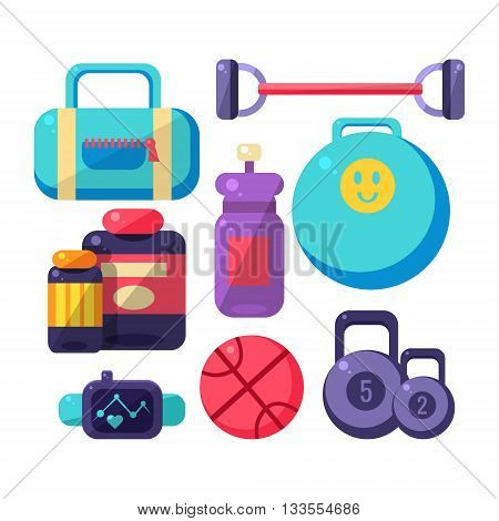 Gym Inventory Items Set. Flat Colorful Vector Illustration With Fitness Inventory. Training Equipment Vector Set OF Isolated Objects.