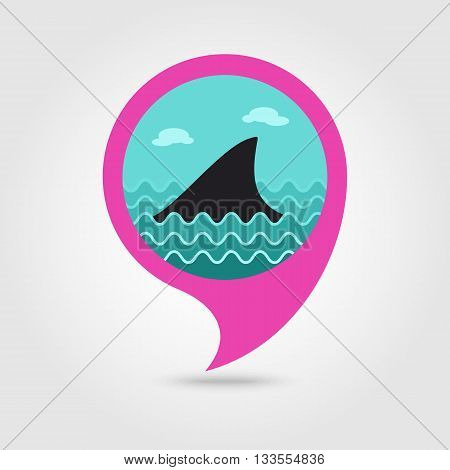 Shark fin vector pin map icon. Beach Map pointer. Summer Map markers. Holiday. Summertime. Vacation eps 10