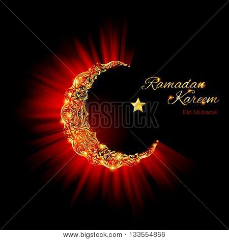 Glowing ornate Moon Crescent and a star in dark red and glowing gold shades. Greeting card of holy Muslim month Ramadan