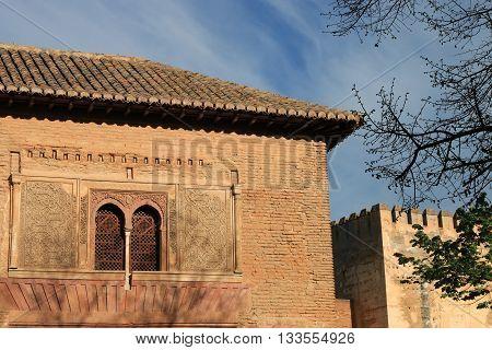 Façade in The historic site of Alhambra , Grenada , Spain