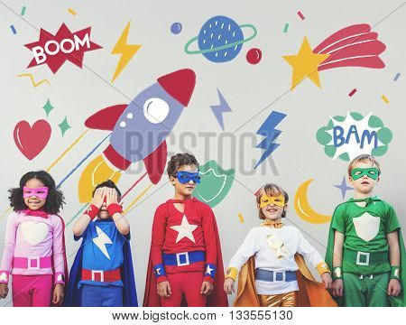 Superhero Super kid Children Hero Playful Concept