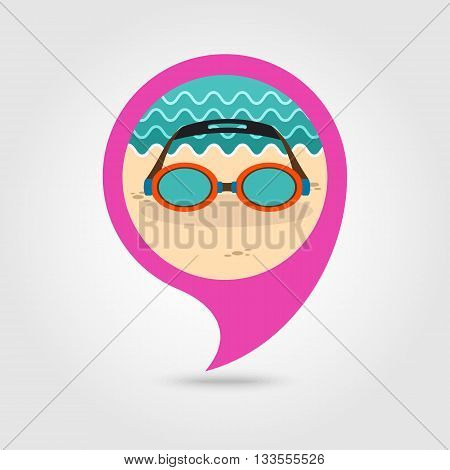 Swimming Goggles vector pin map icon. Beach Map pointer. Summer Map markers. Holiday. Summertime. Vacation eps 10
