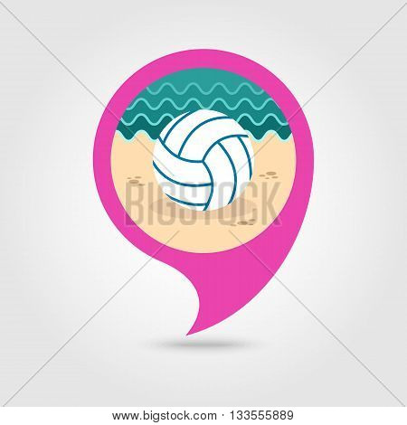 Volleyball vector pin map icon. Beach Map pointer. Summer Map markers. Holiday. Summertime. Vacation eps 10